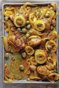 Djej Besla - Chicken and Onion Tagine -Onions stew until soft and sweet in this satisfying one-pot chicken dish flavored with saffron, turmeric, lemon, and olives.