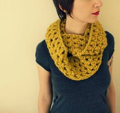 Mustard infinity scarf yellow vegan chunky  made to by RebelHooksV, €19.00