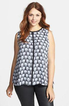 41a868b5d88 Vince Camuto Contrast Trim Shadow Dot Print Sleeveless Blouse (Plus Size)   plussizetops Plus