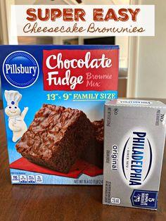 Easy Cheesecake Brownies (AKA, Marble Cream Cheese Brownies) - Sweet Little Bluebird Brownie Mix Recipes, Brownie Desserts, Cake Mix Recipes, Easy Desserts, Baking Recipes, Delicious Desserts, Dessert Recipes, Brownie Ideas, Pillsbury Recipes