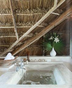 Coqui Coqui is a boutique eco-hotel, spa and perfumery in Tulum, Mexico Hotel Toiletries, Bohemian Bathroom, Outdoor Baths, Outdoor Tub, Outdoor Showers, Interior And Exterior, Interior Design, Design Interiors, Deco Design