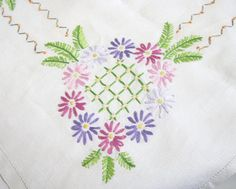 Vintage Linen Tablecloth Hand Embroidered by TheWhistlingMan