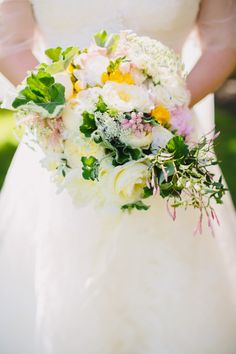 white, pink and yellow #rose #bouquet | Photography by danieljphotography.com, Design and Planning by http://www.brillianteventplanning.com, Florals by http://blossomandbranch.com  Read more - http://www.stylemepretty.com/2013/08/20/private-estate-farm-wedding-from-brilliant-event-planning/
