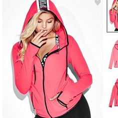 Medium PINK Stretch Fleece Hoodie NWT in online package PINK Victoria's Secret Sweaters