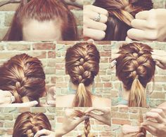 If your hair is anything like mine, it is constantly falling out of my hair elastics. These hairstyles are gym proof tried and true! Ponytail Hairstyles, Pretty Hairstyles, Braid Ponytail, Braid Hair, Step Hairstyle, Plait Braid, Ponytail Tutorial, Updos, Love Hair