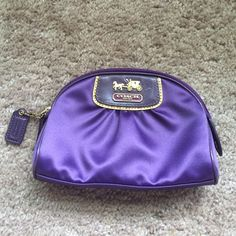 Coach satin cosmetic bag pouch purple designer Great condition coach cosmetic makeup bag.  Could also double as a clutch Coach Bags Clutches & Wristlets
