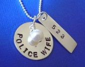 Police Wife Sterling Silver Hand Stamped by byHannahDesign on Etsy