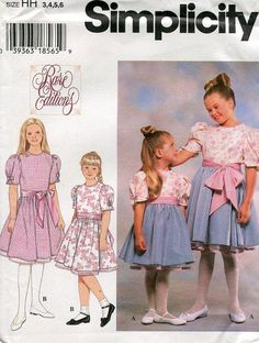 FREE US SHIP Simplicity 7004 Girls Rare Editions Heirloom Dress Petticoat Size 3/6 Uncut 1996 Out of Print Old Store Stock Sewing Pattern by LanetzLivingPatterns on Etsy