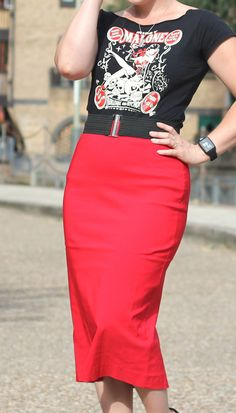 A Red Pencil Skirt with a Splash of Rockabilly Style