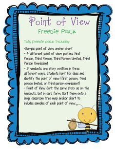 I haven't done a whole lot with point of view in the past, but this year in our most recent Storyworks...