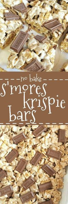 krispie bars are packed with Golden grahams, gooey marshmallows, and Hershey chocolate pieces to bring you the taste of a campfire s'more but in an easy, one pan, no bake s'mores krispie bar! These will remind you of summer campfires all year long! Rice Crispy Treats, No Bake Treats, Krispie Treats, Yummy Treats, Sweet Treats, Köstliche Desserts, Delicious Desserts, Dessert Recipes, Yummy Food