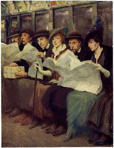 Subway Riders, New York City, 1914 ~ Francis Luis Mora ~ (American: 1874-1940)