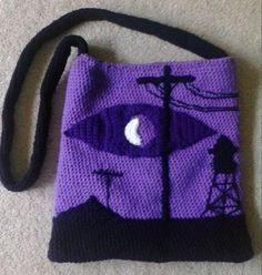 "Gasp! A lady after my own heart. ""Welcome to Night Vale Crocheted Bag by vassalady.deviantart.com."""
