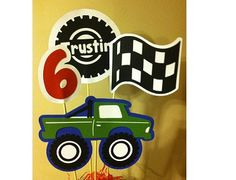 Monster Truck Birthday Centerpiece by PaperPiecingDreams on Etsy