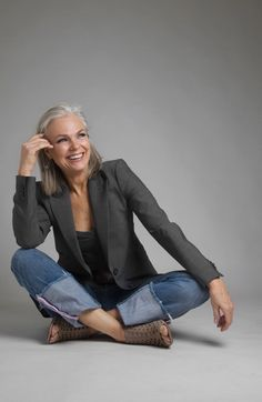 Jeans and a tailored jacket - casual chic for women over forty. For more styling tips check out http://www.lookingstylish.co.uk