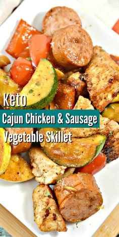 Keto Cajun & Chicken Vegetable Skillet - Easy one pan dinner ideas! Serve with cauliflower rice or zoodles for a complete low carb healthy dinner the whole family will love! dinner for family Keto Cajun & Chicken Vegetable Skillet Health Dinner, Keto Dinner, One Pan Dinner, Healthy Dinner Recipes, Diet Recipes, Cooking Recipes, Healthy Dinner With Chicken, Dinner Ideas With Chicken, Easy Food Recipes