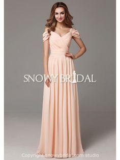Spring Chiffon Elegant Spaghetti Strap Long Destination Full Length Bridesmaid Dress-US$89.99- StyleB2668-Snowy Bridal
