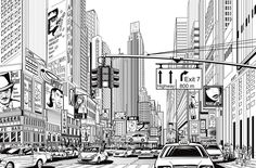 Rebel Walls Cartoon City wallpaper features a comic book style wallpaper design picturing a bustling city street life, full of traffic, billboards, and people. New York Wallpaper, City Wallpaper, Wallpaper Ideas, Mural Art, Wall Murals, Wall Art, New York Street, New York City, Comic Book Wallpaper