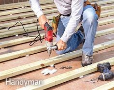 Use a hammer drill and concrete screws to fasten the deck to the concrete patio.