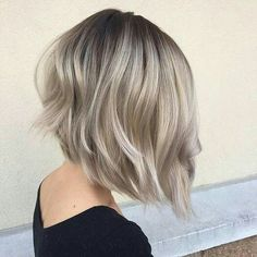 Short hairs. Blonde cold colour.  Ash tones.