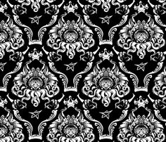 curtain - fabric     Cthulhu Damask fabric by jimiyo on Spoonflower - custom fabric
