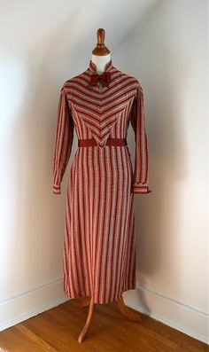 Striped viyella (a twill-weave wool/cotton blend fabric) day dress, c. 1930s.