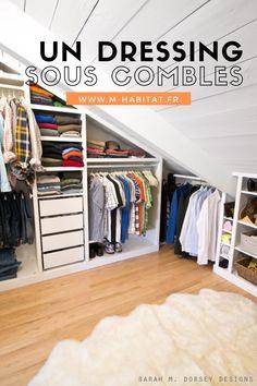 Aménager un dressing sous les combles : nos astuces rangement. #dressing #combles #amenagement #rangement