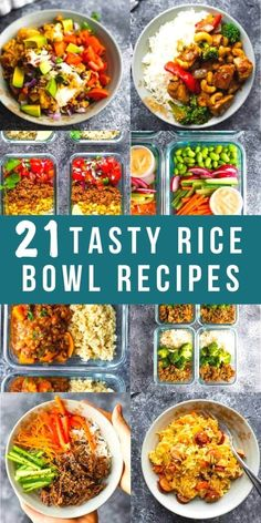These 21 delicious rice bowl recipes work great for meal prep, or can be served fresh. These recipes are perfect for an office lunch or re-heatable dinner. Many of them are even freezer-friendly! #sweetpeasandsaffron #ricebowls #mealprep Beef Rice Bowl Recipe, Veggie Rice Bowl, Chicken Rice Bowls, Perfect Baked Chicken Breast, Vegan Slow Cooker, Easy One Pot Meals, Beef Recipes, Freezer Recipes, Rice Recipes