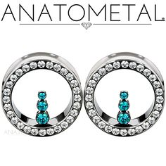 "1 1/8"" Cluster Eyelets in ASTM F-136 titanium with CZ and Mint Green CZ gemstones"