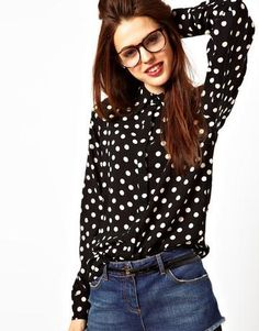007c8424715d4e Black Long Sleeve Covered Button Polka Dot Blouse like the blouse
