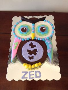 Quilted Owl 1st Birthday Cake. Eggless vanilla cake with vanilla buttercream and fondant accents.