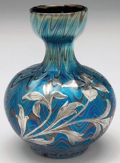 "Loetz Phanomen Genre 6893 vase, bulbous shape, applied silver overlay with floral designs, signed, 3.5""w x 4.5""h"