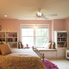 Girls Bedroom With Custom White Built In Design Ideas, Pictures, Remodel, and Decor - page 2