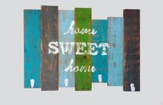 Home Sweet Home - Reclaimed Pallet Wood Slat Coat Or Hat Rack