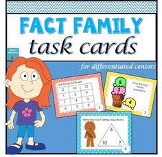 Fact Family Math Centers: Students can practice addition and subtraction fact families with these engaging, colorful task cards.There are 3 different levels included in this Fact Family pack. Set 1: 20 Basic Task Cards. Each task card includes 3 numbers for basic fact family practice.Set 2: 20 Intermediate Task Cards.
