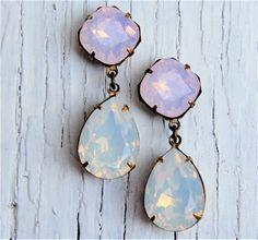 Pink Opal White Opal Earrings Swarovski Crystal Opal Earrings Post Dangle Tear Drop Pear Rhinestone Earrings Gwenevere Mashugana on Etsy, $46.50