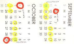 El Calendario de Ovulación es un método usado para calcular los días fértiles para quedar embarazada  marcando en un calendario el primer día del período menstrual #fertilidad