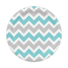 turquoise gray chevron baby shower bridal party 7 inch paper plate