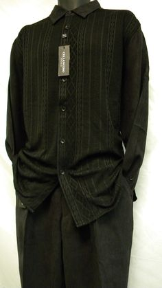 Mens Dress Walking Suits Black Knit Front 2 Pc Set SP1302