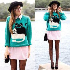 t-shirt dress w/ a quirky sweater