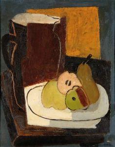 Jean SOUVERBIE (1891-1981) Assiette de poires et pichet, vers 1925/1930 Huile