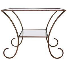 Deco Style, Solid Brass Serving or Console Hall Table, circa 1930s