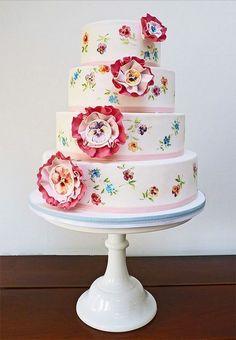 Wedding Cake kır düğünü için pastel renklerde düğün pastası www.kutaspasta.com