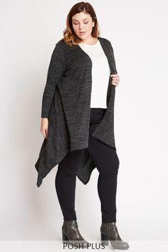 Charcoal Woodland Longline Handkerchief Cardigan Plus Size