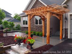 Custom Crafted Front Entrance Cedar Arbor with Borgert Strassen® Bavaria Tumbled Paver Patio – modern landscape design front yard Front Porch Pergola, Vinyl Pergola, Cedar Pergola, Small Pergola, Wooden Pergola, Backyard Pergola, Pergola Plans, Pergola Ideas, Arbor Ideas