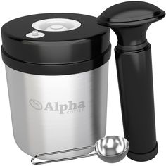 Alpha Coffee Storage Container With Vacuum Seal. Solid Stainless Steel Canister And Scoop. Pump Out All The Air To Lock In Maximum Flavor. Airtight Food Vault For Ground Coffee, Whole Bean, Tea, Spice