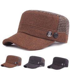 726604bfbe0 High-quality Men Warm Earflaps PU Leather Flat Cap Outdoor Sports Trucker  Baseball Cap -
