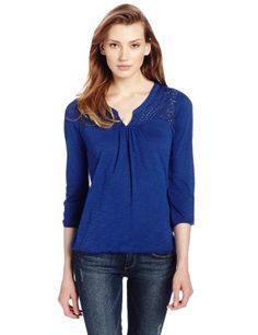 Lucky Brand Women's Camilla Mixed Lace Top, Sodalite Blue, X-Small Lucky Brand