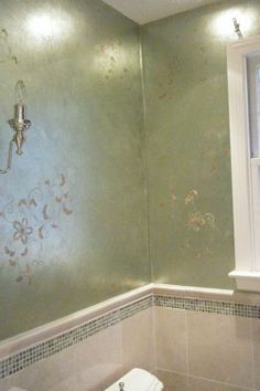 Our Oriental Floral Vine Elements stencil graces a metallic finish by Massachusetts artist Carol Leonesio.
