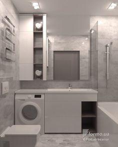 Много общего, FoxLab Interior, Ванная/Санузел, Дизайн интерьеров Formo.ua Modern Laundry Rooms, Laundry Room Bathroom, Laundry Room Design, Home Room Design, Bathroom Layout, Bathroom Storage, Modern Bathroom, Home Interior Design, Master Bathroom